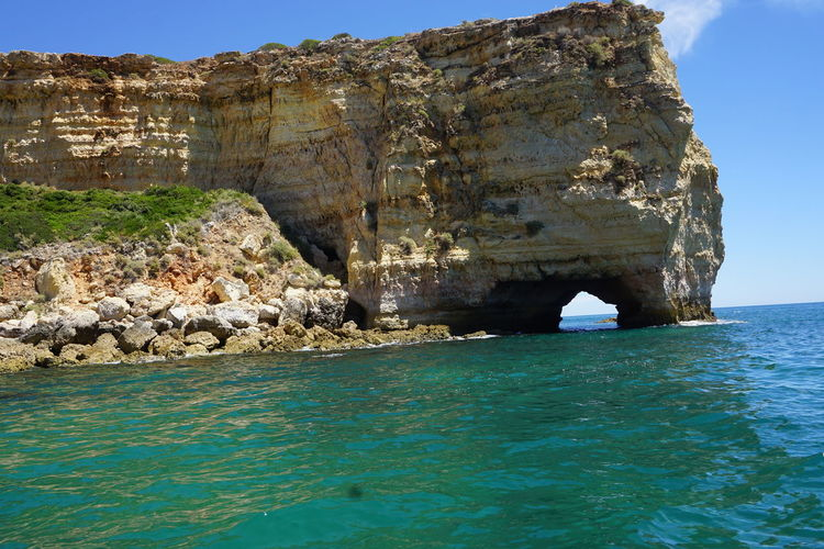 Sea Nature Beach Outdoors Water Sky Beauty In Nature Nature Scenics Horizon Over Water Algarve, Portugal Portugal Rocks On The Beach Travel Destinations No People Benagil, Algarve,Portugal Animals In The Wild Animal Wildlife Day Underwater UnderSea Sea Life