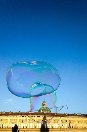 Piazza Maggiore Architecture Blue Bubble Clear Sky Magic Soap Bubbles Sun