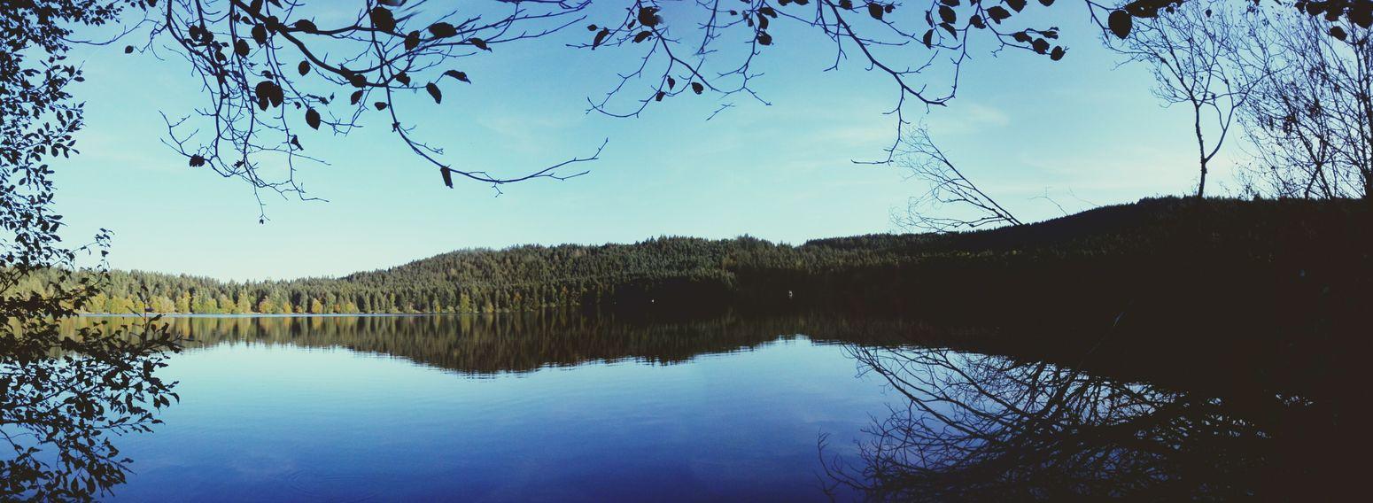 Lac Du Bouchet Paysage Reflet Automne