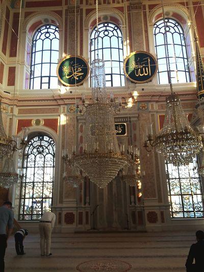 Ortaköy Mosque Chandelier Windows let the light in Prayer