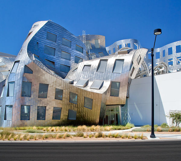 Architecture Blue Building Building Exterior Built Structure City Day Frank Gehry Lou Ruvo Center For Brain Health Low Angle View No People Outdoors Road Sky Street Light Sunny