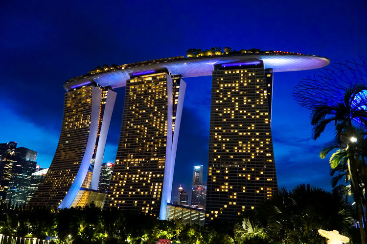 Night view of Marina Bay Sands Casino Marina Bay Sands Architecture Attraction Blue Building Exterior Built Structure City Hotel Illuminated Low Angle View Night No People Outdoors Sky Skyscraper Tourism Tree