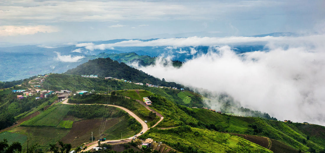 Scenic view of green mountains at phetchabun