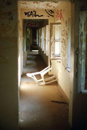 Chair Architecture Built Structure Chair Chairswithstories Chaos And Order Corridor Day Fail Indoors  No People Open Door Streetphotography Urban Urban Structures