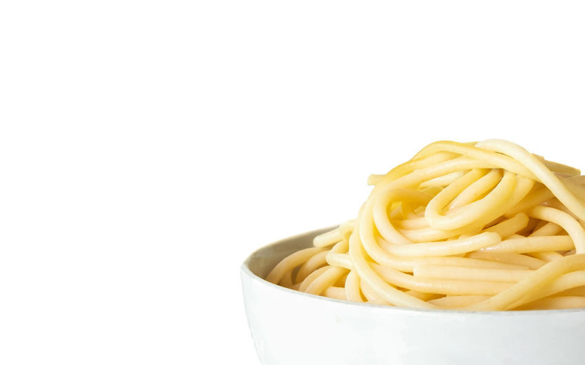 Close-up of pasta against white background