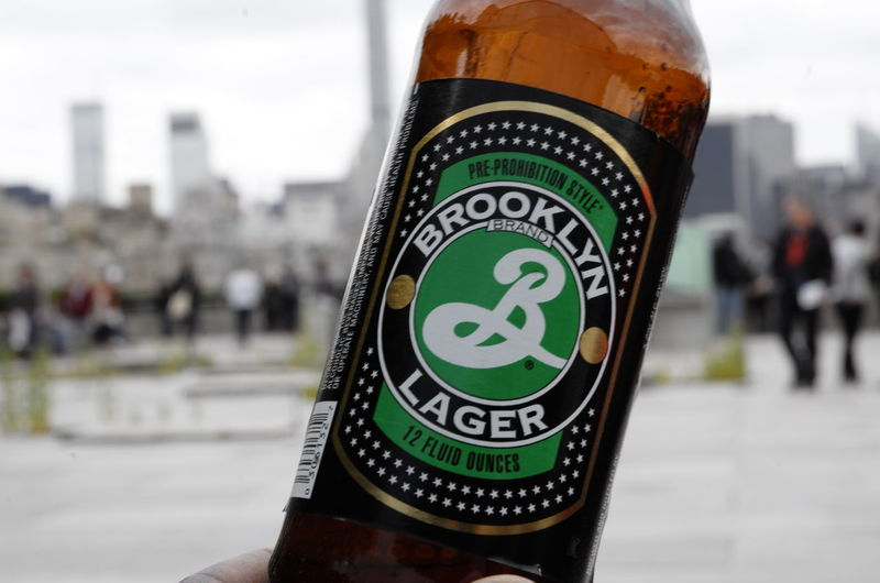 Bottle Brooklyn Lager Brown Close-up Focus On Foreground New York Skyline  Outdoor Selective Focus First Eyeem Photo