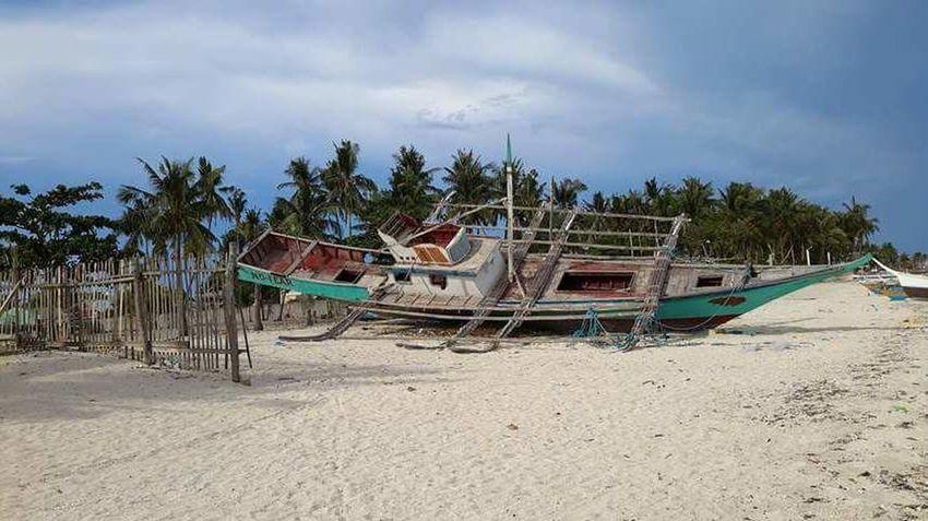A broken fishing boat... Beach Sand Sea Palm Tree