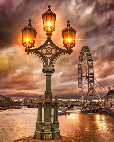 Wish you a beautiful day ... 😍☺______________________________________ Lighting Equipment Illuminated Street Light Sunset Sky Architecture Lantern Built Structure Electricity  Cloud - Sky Travel Destinations River City Night Water No People Outdoors EyeEm Best Shots Sun_collection, Sky_collection, Cloudporn, Skyporn London EyeEm Nature Lover London Eye AnotherDay Another Year Westminster