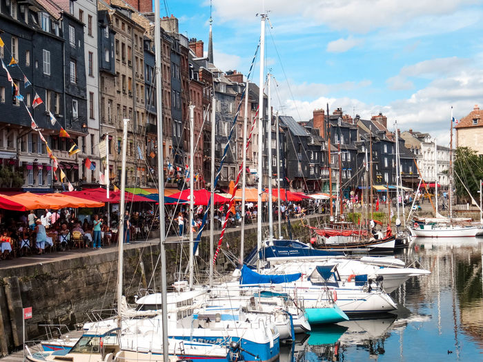 Port Boats⛵️ Boats And Water France Honfleur, France Honfleur Building Restaurants Summer Busy Street Sky Colorfulstreet