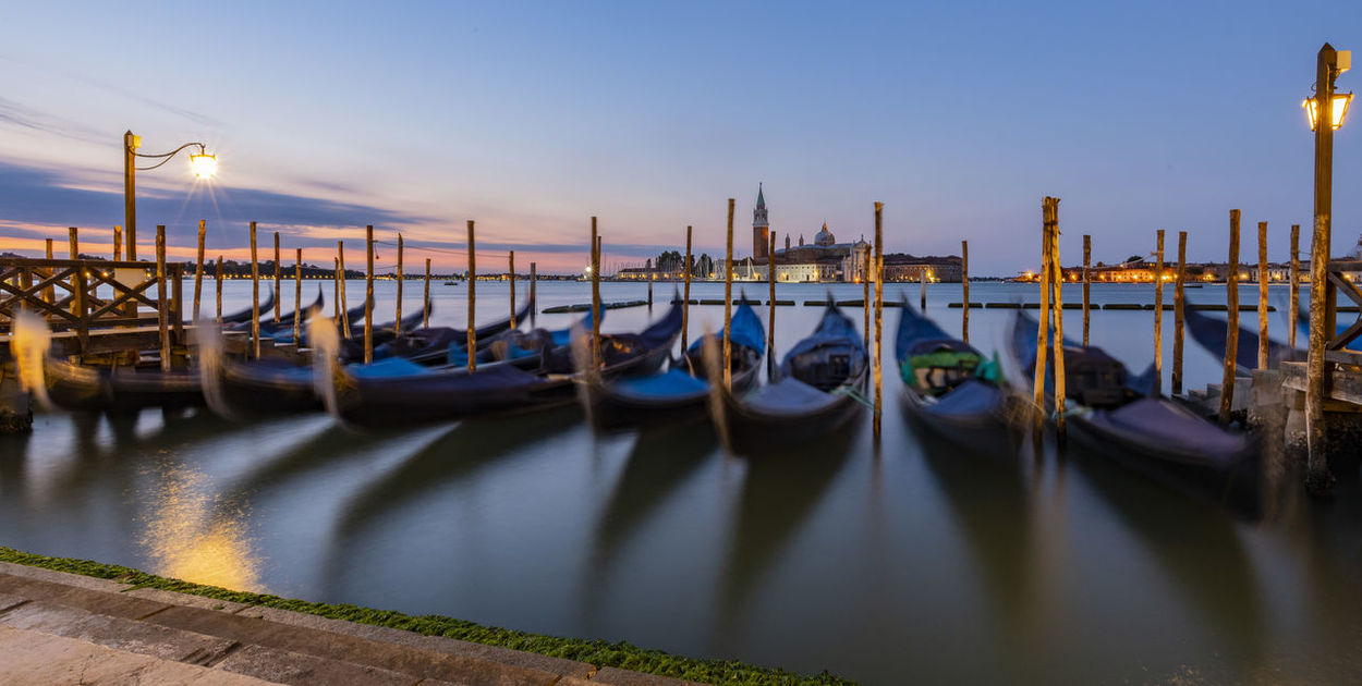 Architecture Building Exterior Built Structure Canal Gondola - Traditional Boat Illuminated Mode Of Transportation Moored Nature Nautical Vessel No People Outdoors Post Sky Transportation Travel Destinations Water Waterfront Wood - Material Wooden Post