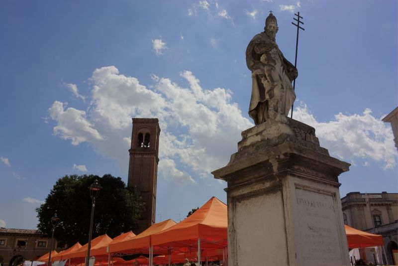 Architecture Building Exterior Built Structure Church Cross Famous Place Historic History Italy Low Angle View Mantova Outdoors Place Of Worship Religion Spirituality Statue