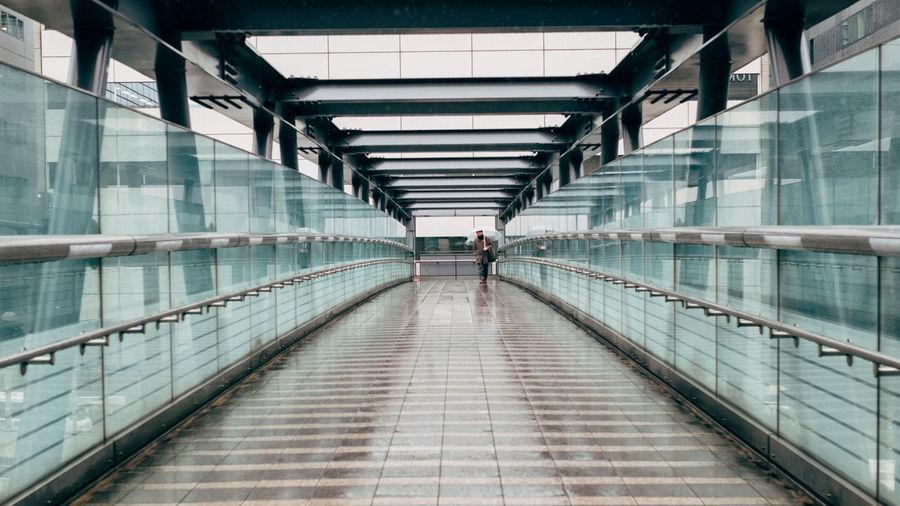 Wet footbridge during rainy season