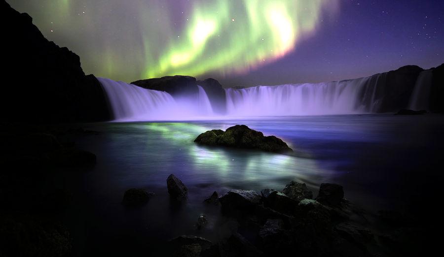 Goðafoss Waterfall Iceland Nightphotography Nikon Northern Lights Workshop Long Exposure Night