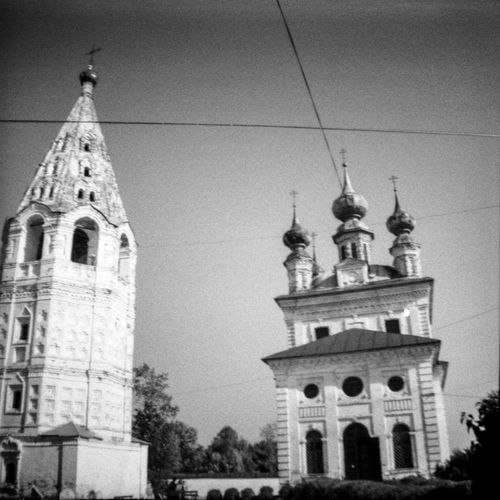 Architecture Building Exterior Built Structure Church Clock Tower Cross Famous Place Film Film Photography Historic History Lomography Low Angle View Place Of Worship Religion Spirituality Tower