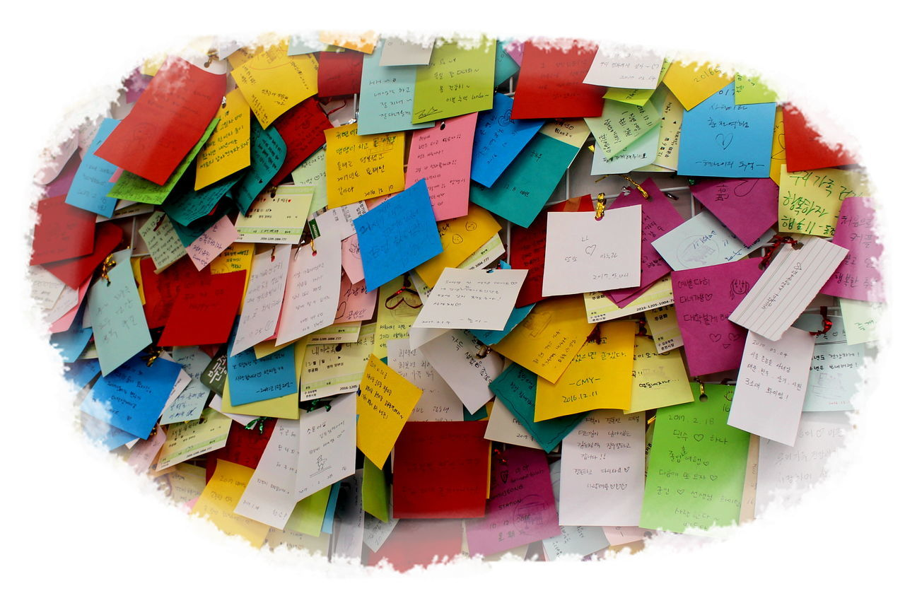 multi colored, white background, adhesive note, text, communication, paper, reminder, no people, close-up, day