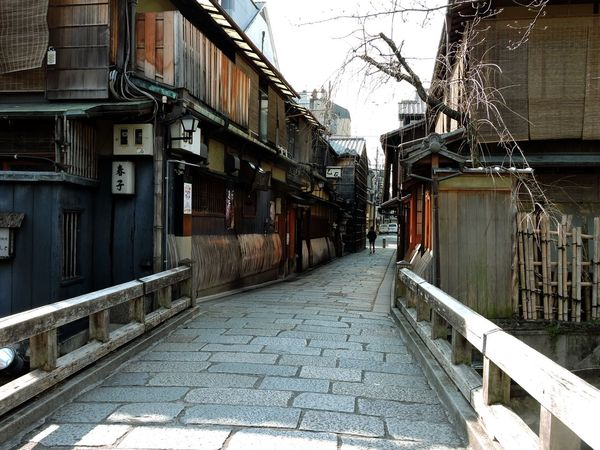 Alley Bridge City Diminishing Perspective Gion Historical Place Kyoto, Japan Narrow Old Wooden Houses Paved Road Residential Building