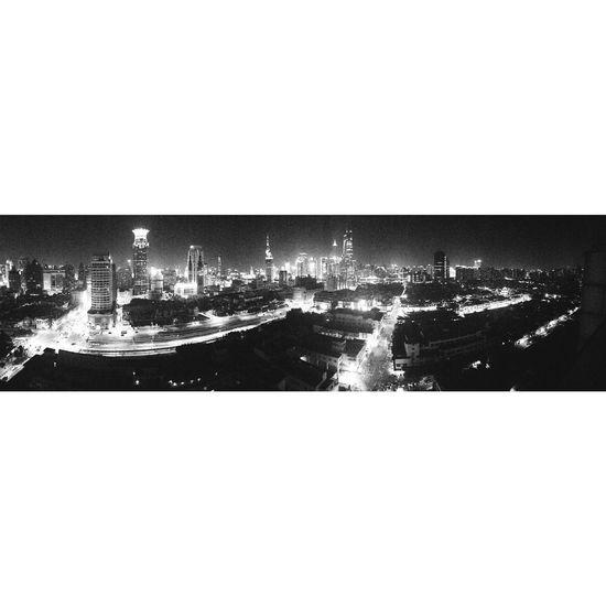 Blackandwhite Shanghai Buildings Nightview