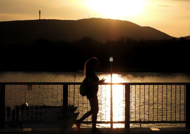 Streetphotography Girl Girlphotography Silhouette Sundown Summertime Water Sunset Standing Lake Silhouette Sunlight Mountain Reflection Sun