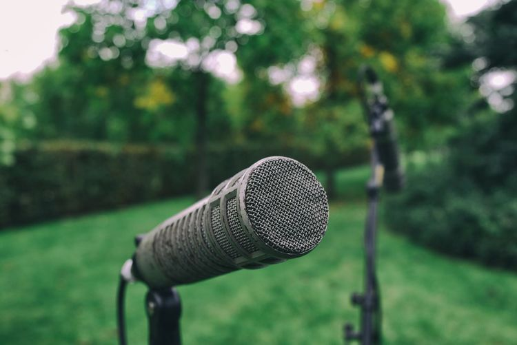 Close-up of microphone at park