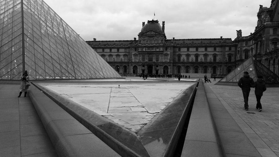 Architecture Building Exterior Built Structure Louvre Paris Museum Monochrome Photography Paris