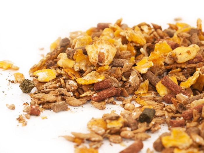 Close-up Day Dried Fruit Food Food And Drink Granola Healthy Eating Muslie No People Protein Bar Raisin White Background