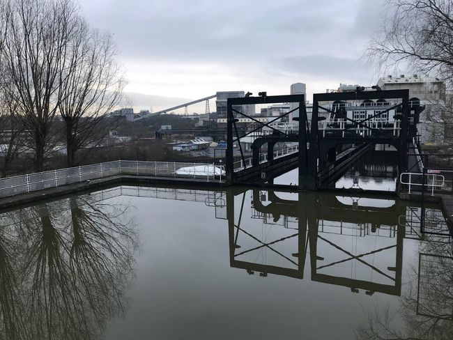 Anderton Northwich Andertonboatlift Bare Tree Architecture Built Structure Sky Winter Cold Temperature Water Outdoors Day Building Exterior River Nature Tree No People Bridge - Man Made Structure Snow