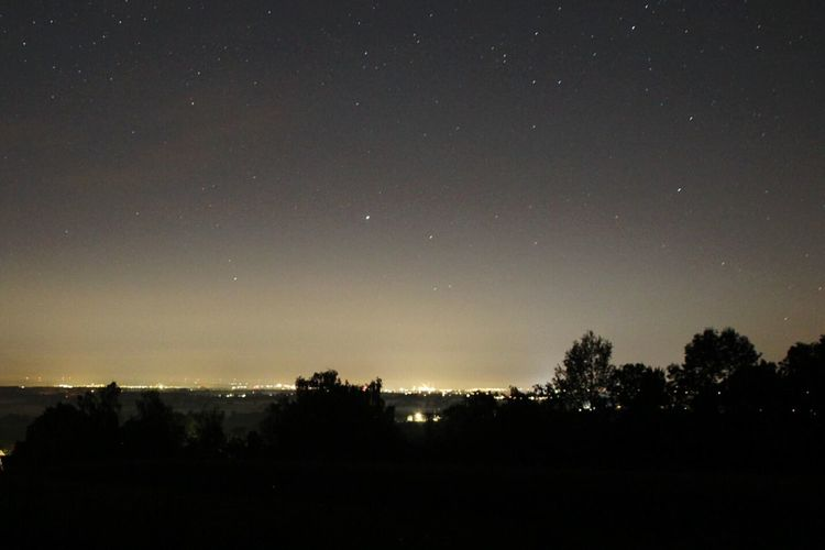 city glow viewed from a rural area Europe Night Night Light Light Pollution Stars Sky Night Sky Nacht Nachthimmel Lichtverschmutzung Sternenhimmel Sterne  Nature Beauty In Nature No People Outdoors Idyllic Landscape Tranquility Tranquil Scene Dark Treetop