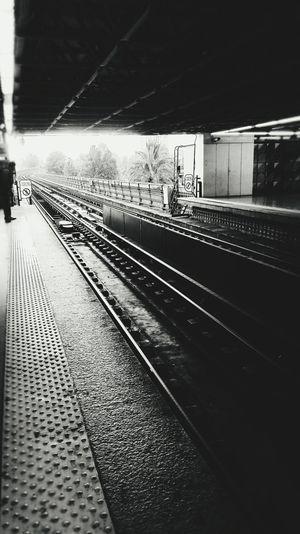 Railway tracks at railroad station