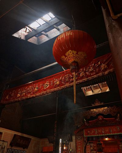 Ray Morning Ray Red Dust Smoke God Pray Chinese Temple Low Angle View Indoors  Spirituality Architecture Religion Place Of Worship Hanging Illuminated EyeEm Ready   AI Now EyeEmNewHere