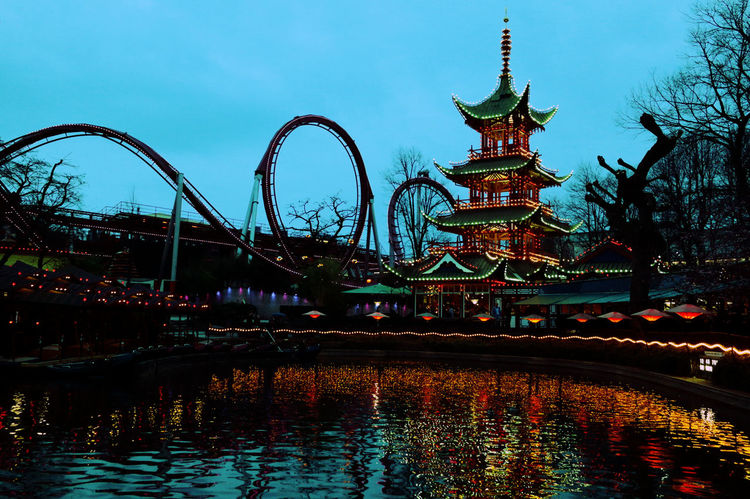 Chinatown Copenhagen Lights Nightfall Roller Coaster Tivoli Denmark Water Reflections