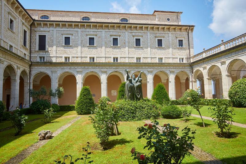 View of historic building in garden