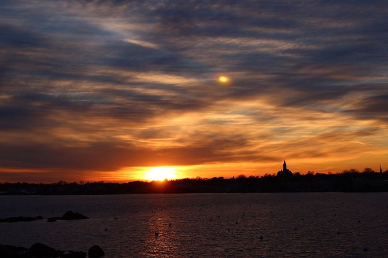Marblehead Ma Silhouettes Of A City Sky Sunset Cloud - Sky Water Scenics - Nature Beauty In Nature Orange Color