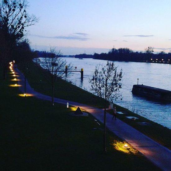 Kahl Germany Night Lights Park Sunset River Danubio Landscape