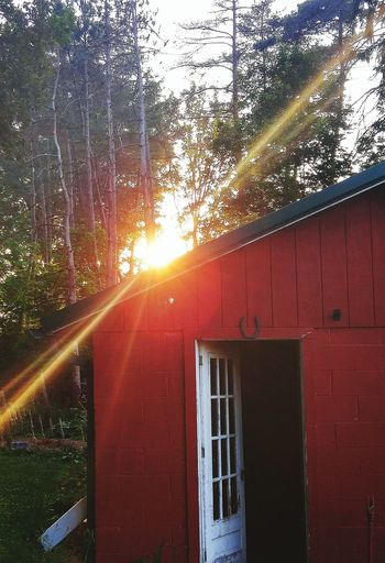 Country sunset Architecture Built Structure Sun Sunbeam House Building Exterior Tree Sunlight Window Residential Structure Lens Flare Cottage Outdoors Nature No People Beauty In Nature High Section Shinning First Eyeem Photo