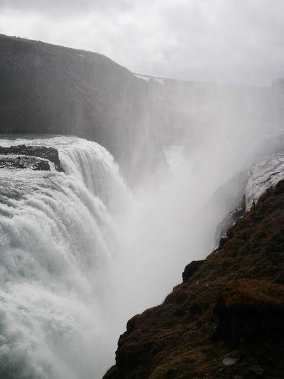 Gulfoss Tectonic Plates Water Mist Fog Cliff
