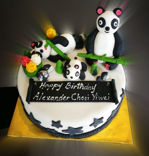 Text Orthographic Symbol No People Indoors  Breakfast Birthday Cake Birthday Birthday Party Birthday Celebration! Birthdaycake Cake♥ PANDA ♡♡ Panda Panda Cake Panda Birthday Cake Welcome To Black