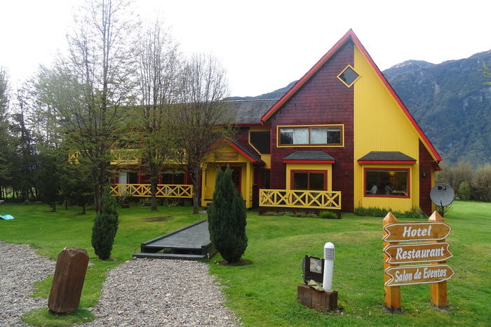 Architecture Big House Building Exterior Built Structure Chile Day Façade Garden Grass Grass Green Color Hotel Boutique No People Non-urban Scene Outdoors Panoramic Patagonia Postales Puerto Aysén Chile Sky Tourism Tranquil Scene Tranquility Wood - Material Yard
