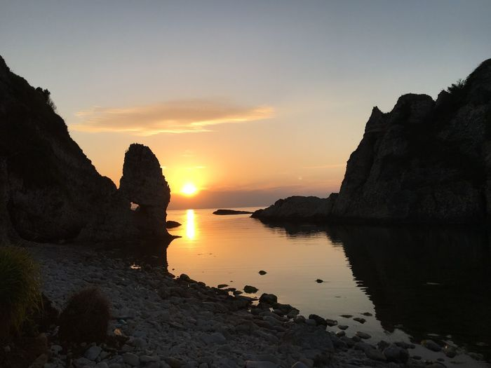Kilimli dark sea sunset ağva istanbul Sky Sunset Water Beauty In Nature Tranquility Scenics - Nature Tranquil Scene Silhouette Beach Nature Land Sea Rock - Object Solid Idyllic Reflection Orange Color No People Rock Outdoors