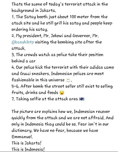 Be strong Indonesia. Indonesia isn't afraid. I'm so proud to be Indonesian. 💜💛💚❤💙