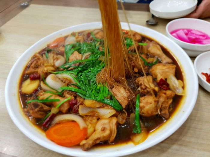 Chicken Meat 찜닭 City Meat Soup Bowl Table Chopsticks Close-up Food And Drink Noodles Korean Food Asian Food Korean Culture Soy Sauce