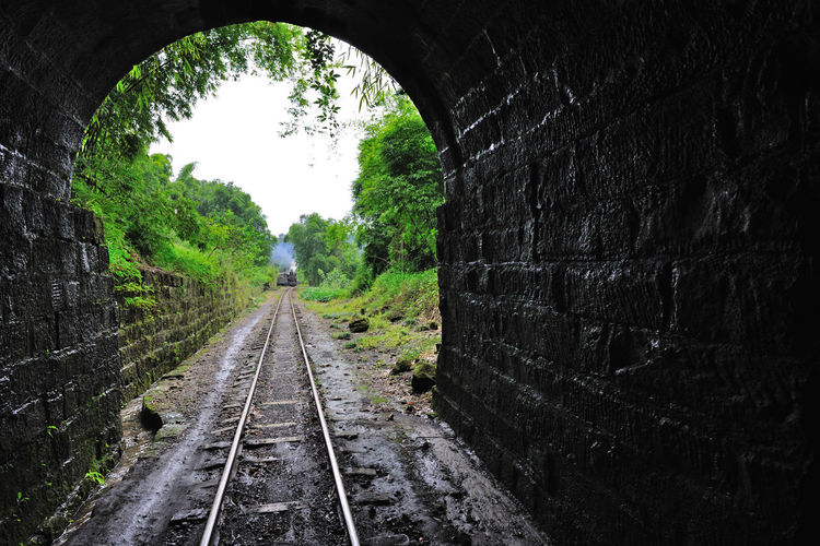 View of railroad tracks in tunnel