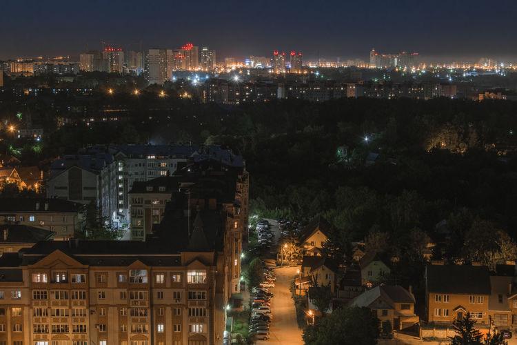 Aerial view of night city. kazan, russia