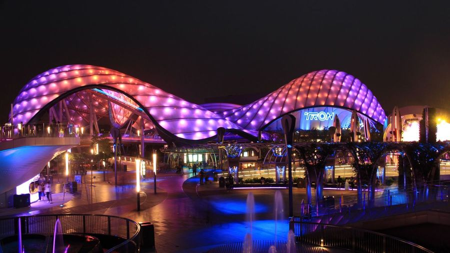 Disneyland Disney Shanghaidisneyresort Modern Architecture Night Illuminated Arts Culture And Entertainment Bridge - Man Made Structure Built Structure Sky Long Exposure Travel Destinations Outdoors No People Cityscape Building Exterior City Water Nature