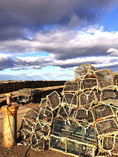 Standrews Scotland Fife  Harbour Fishing Lobster lobster cages at St Andrews Harbour Fresh Air