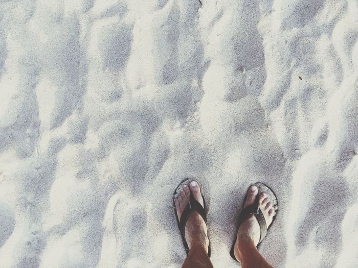 Vacations Relaxing Moments Wanderlust Travel Beachphotography Body Part Low Section Human Leg Human Body Part Real People Personal Perspective Land Beach Standing Adult Sand Outdoors High Angle View Lifestyles Human Foot Leisure Activity