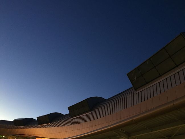 Architecture Built Structure Building Exterior Low Angle View Clear Sky Copy Space Blue No People Outdoors Day Modern City Sky Dawn No Edit/no Filter No Filter Portugal Algarve Airport Night Clear Sky Lookingup The Architect - 2018 EyeEm Awards