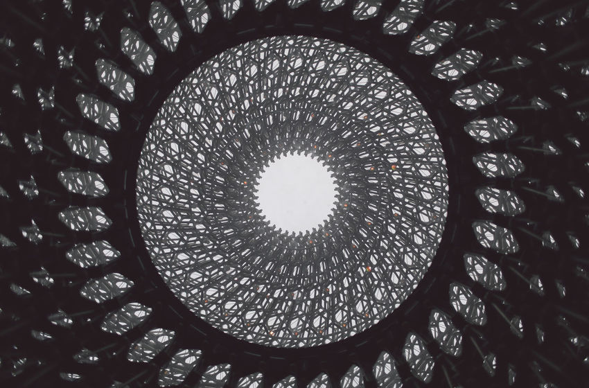 Abstract Architectural Feature Architecture Backgrounds Built Structure Ceiling Circle Beautifully Organized The Hive Design Diminishing Perspective Directly Below Full Frame Garden Geometric Shape The Hives Low Angle View No People Ornate Park Pattern Repetition Shape Skylight Spiral Welcome To Black The Secret Spaces Postcode Postcards AI Now