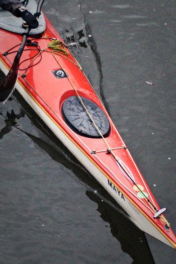 Cropped image of man kayaking in river