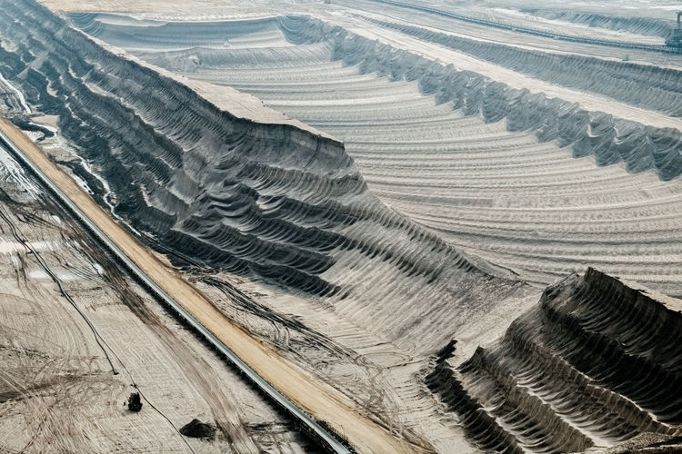 High angle view of opencast mining