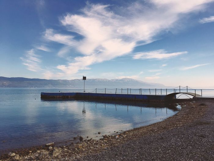 Ohrid lake Water Sky Nature Tranquility Tranquil Scene Scenics Beauty In Nature Outdoors Sea Day No People Cloud - Sky Architecture Landscape